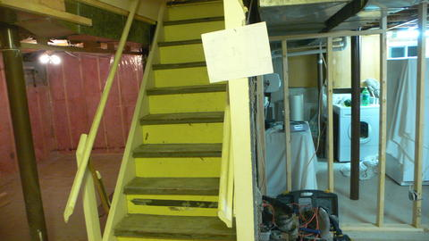 Stairs, office and new laundry room wall